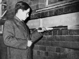Robert Kennedy Laying Commemorative Stones at Clubland, New Youth Center, London, Apr 14, 1939 Photo