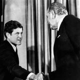 President Lyndon Johnson Shakes the Hand of Senator Edward Kennedy Print