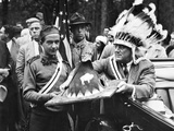 President Franklin Roosevelt in a War Bonnet Photo