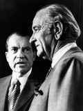 President Richard Nixon Talks with Former Pres Lyndon Johnson in the New Press Room in White House Photographie