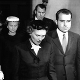 Vice President Richard Nixon and Wife Pat, Leaving the East Whittier Friends Church Photo