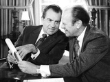 President Richard Nixon Meets with House Minority Leader Gerald Ford at White House, Oct 13, 1973 Photo
