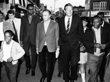 Mayor John Lindsay and Actor Marlon Brando Take a Goodwill Stroll Through Harlem, May 2, 1968 Photographic Print