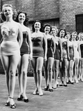 Miss New York City Beauty Contestants Line Up Atop a City Hotel in 1952 Prints