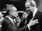 President Lyndon Johnson with United Nations Secretary General U Thant Photographic Print