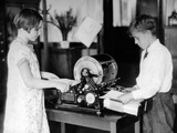 School Children Work on a Mimeograph Machine Photographic Print