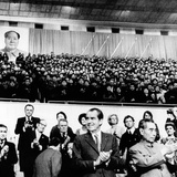 Pres Richard Nixon and Premier Chou En-Lai Applaud Chinese Athletes Photographic Print