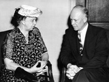Eleanor Roosevelt Chats with Columbia University President, Dwight D Eisenhower Photographic Print
