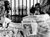 Tourists in Front of the White House Read Headlines, 'Nixon Resigning,' Aug 8, 1974 Photographic Print