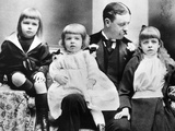 Eleanor Roosevelt as a Six Year Old Girl (Right), with Father, Elliott, and Her Two Brothers Photographic Print