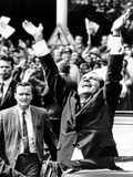 Pres Richard Nixon Jubilantly Acknowledges Cheers of House Dwellers in Bucharest, Aug 2, 1969 Photo