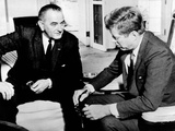 President John Kennedy Meeting with Vice President Lyndon Johnson Photographic Print