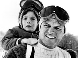 Ted Kennedy Gives His Nephew John F Kennedy Jr a Piggy-Back Ride Down Ski Slopes in Stowe, Vermont Photographic Print