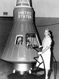 Astronaut Trainees Jerrie Cobb Stands Next to a Mercury Spaceship Capsule Photographic Print