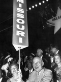 Former Pres Harry and Bess Truman with Missouri Delegation at 1956 Dem Convention, Aug 8, 1956 Photographic Print