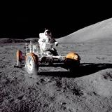 Apollo 17 Astronaut Eugene a Cernan Driving the Lunar Rover Photographie