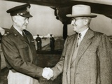 Pres Truman Seeing Gen Dwight Eisenhower Off to Paris, Where He Would Begin Organizing NATO Photo
