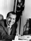 President Richard Nixon at Oval Office Desk on First Full Day in Presidency, Jan 21, 1969 Photo