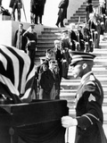 Jacqueline Kennedy in a Widow's Veil, Watches as Coffin of Pres John Kennedy, Is Placed on Caisson Photo