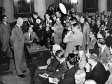 President Eisenhower at a Press Conference at the Executive Office Building, Jan 13, 1954 Photographic Print