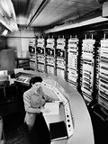 Female Operator at the Console of the 'Raydac', Raytheon Digital Automatic Computer, August 2, 1952 Photographic Print