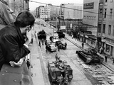American Tanks at the Friedrichstrasse Checkpoint Crossing Through the Berlin Wall Photo