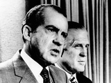 President Richard Nixon and HUD Secretary George Romney Criticize the House of Representatives Photographic Print