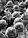 Pres Richard Nixon Greets US Combat Troops at 1st Division's Di An Base, Nov 3, 1972 Photographic Print