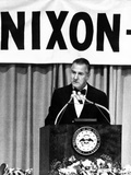 Spiro Agnew Speaking in Front of a Large Nixon Sign Photographic Print