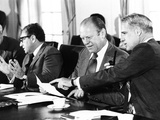 Gerald Ford at a Cabinet Meeting During His First Month as President Photographic Print