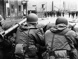 American Troops Face East Berlin at Checkpoint Charlie at Friedrichstrasse in West Berlin Photo
