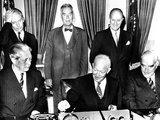 Pres Eisenhower, UK Prime Minister Harold MacMillan and Australian Prime Minister Robert Menziers Photo