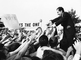 Richard Nixon, Republican Presidential Nominee, Reaches Back to the Sea of Supporters' Hands Photographic Print