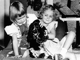 Julie and Tricia Nixon Playing with their Cocker Spaniel, Checkers Photo