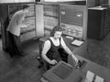 Technicians with Room Size IBM Type 704 Computer Making Calculations for Aeronautical Research Photographic Print