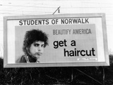 Billboard in Norwalk, Connecticut, Ridiculing of Long Hair Posters