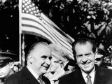 President Richard Nixon Greets French President Georges Pompidou at the White House, Feb 24, 1970 Photographic Print