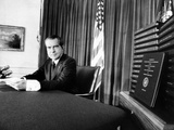 Embattled President Richard Nixon Beside Transcripts of His 'Secret' White House Tape Photographic Print