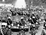 Pres Richard Nixon and Pres Nicolae Ceausescu and Crowd During Motorcade in Bucharest, Aug 2, 1969 Photo
