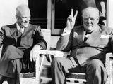 President Eisenhower Watches UK Prime Minister Winston Churchill Give His Famous V-For-Victory Photographic Print