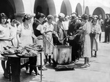 Breadline in Los Angeles Serving Soup and Bread Photo