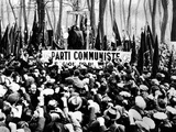 Jacques Cuclox Making Clenched Fist Salute at a Communist Mass Meeting in the Bois of Vincennes Photographic Print