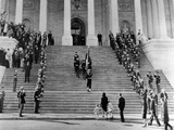 Jacqueline Kennedy Escorts Her Children, Caroline and John, Jr Up the Steps of the Capitol Photo
