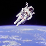 Astronaut Bruce Mccandless in Floating Weightless 320 Feet from the Space Shuttle Challenger Photographic Print
