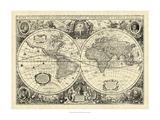 Mapa del mundo vintage Póster
