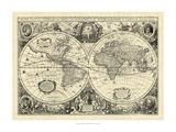 Vintage World Map Premium Giclee Print