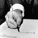 President Lyndon Johnson Signing the 1965 Civil Rights Bill, also known as the Voting Rights Act Photographic Print