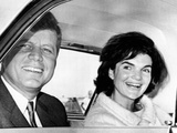 President and Jacqueline Kennedy in Palm Beach, Florida Lámina fotográfica