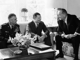 President Lyndon Johnson with Gen William Westmoreland and Defense Secretary Robert McNamara Posters
