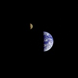 Earth and Moon in a Single Photographic Frame Photographic Print